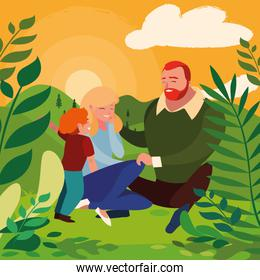 parents with son family in day landscape