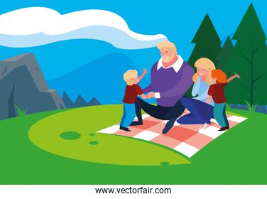 parents with son family in landscape natural