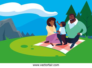 afro parents with son family in landscape natural