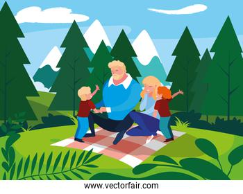parents with children family in landscape natural