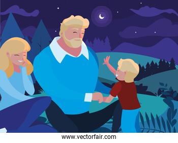 parents with son family in night landscape