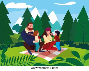 smiling parents with children family in landscape natural