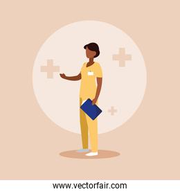 doctor female afro with uniform and clipboard