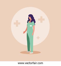 doctor female with uniform avatar character