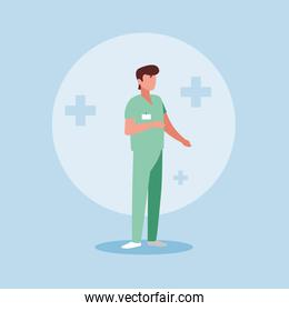 doctor profession with uniform avatar character