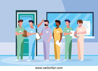 group of doctors in hospital avatar character