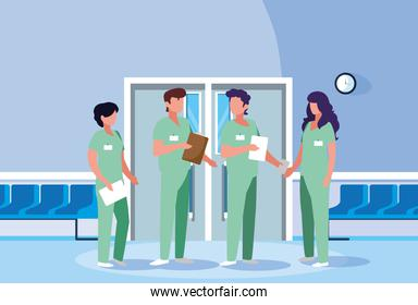 group of professionals doctors in hospital