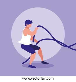 youth athletic man with rope sport