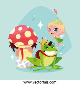frog prince with fungus and fairy