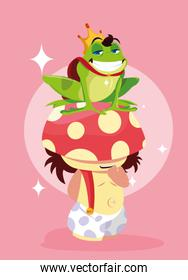 frog prince with fungus avatar character