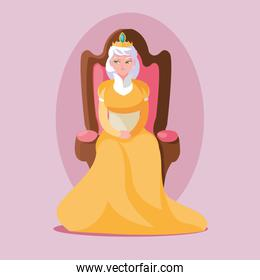 queen fairytale magic sitting in chair character