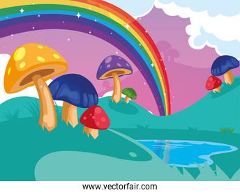 beautiful fairytale landscape with fungus and rainbow