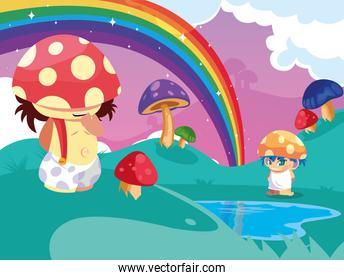 little fungus fairytale in fantasy  landscape with lake