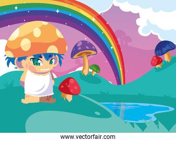 little fungus fairytale in landscape fantasy with lake