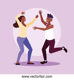 afro couple celebrating with hands up