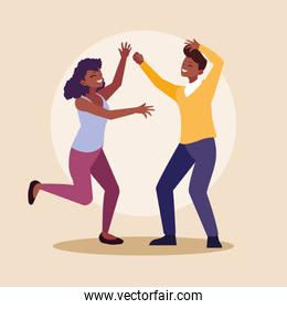 young afro couple celebrating with hands up
