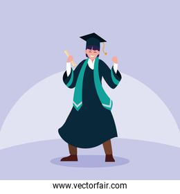 Graduating boy student in celebration design