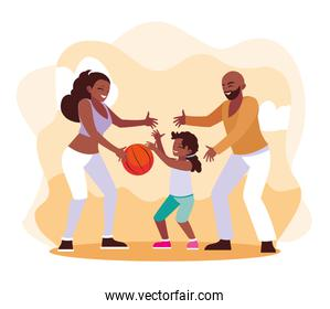 Mother and father with daughter playing design