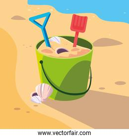 Sand bucket in the beach design