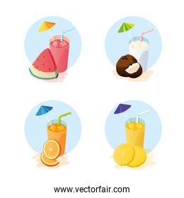 Juices with fruits icon set design