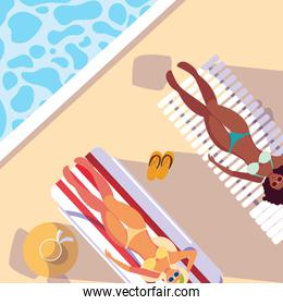 women with swimsuit tanning in the pool