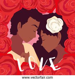 young couple afro in love poster with frame of roses