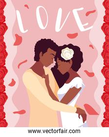 young couple afro in love poster with roses decoration