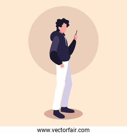 young man using smartphone device