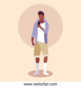young man afro using smartphone device