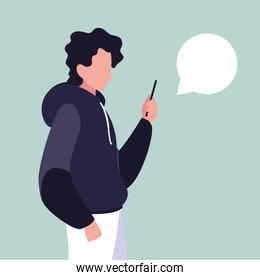 young man using smartphone with speech bubble