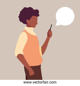 young man afro using smartphone with speech bubble