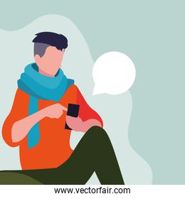 young man sitting using smartphone with speech bubble
