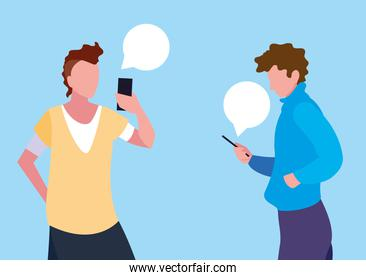 young men using smartphones with speech bubbles