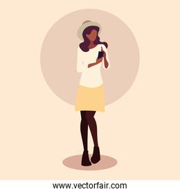 young woman afro using smartphone