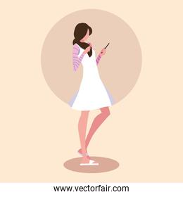 young woman using smartphone device