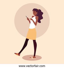 young woman afro using smartphone device