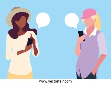 young women avatar using smartphones devices