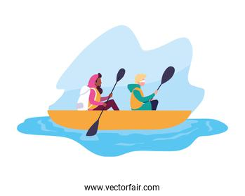 young couple in canoe sport extreme