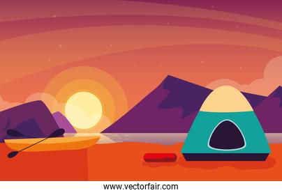 camping zone with tent sunset scene