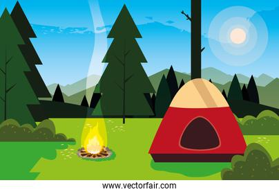 camping zone with tent and campfire day landscape