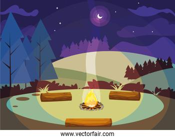 camping zone with campfire in the landscape
