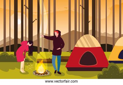 faceless campers in camping zone with tent and campfire sunset scene