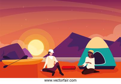 campers in camping zone with tent sunset scene
