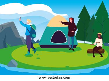 campers in camping zone with tent day landscape
