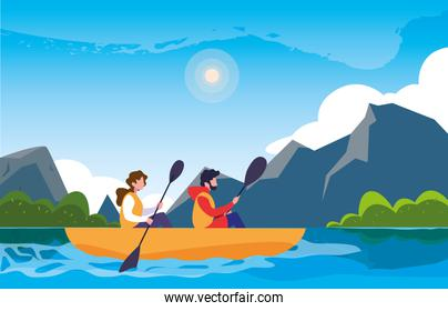 campers in beautiful landscape scene with kayaks