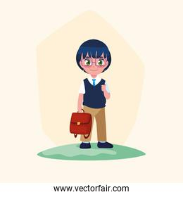 cute little student boy with schoolbag