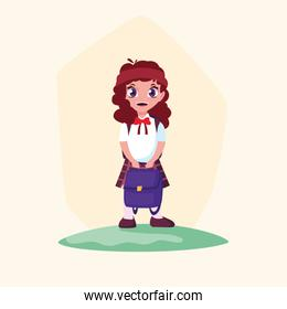 cute little student girl with schoolbag