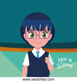 cute little student boy in poster back to school