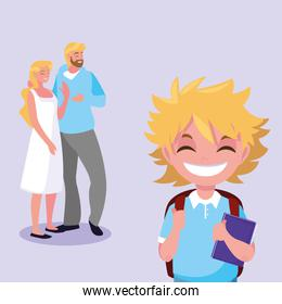 cute little student boy with parents
