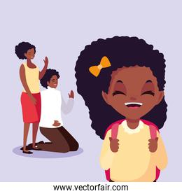 cute little student girl afro with parents